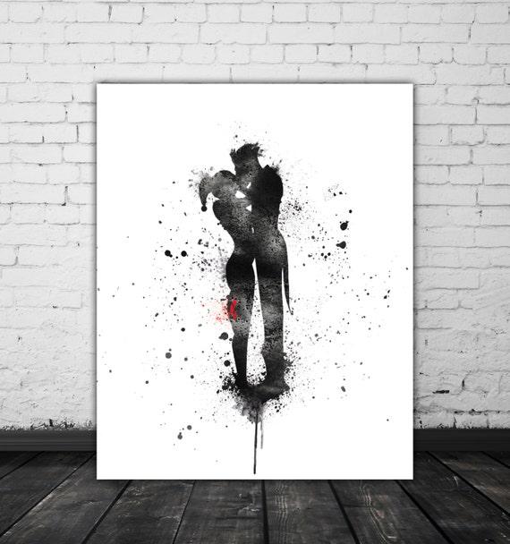 Harley y regalo del Joker Harley Quinn arte loco amor arte | Etsy