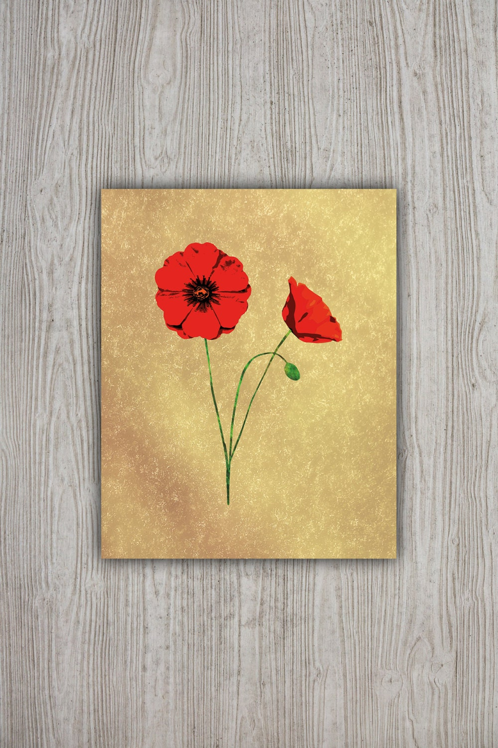 Red Poppies Wall Art Print 8x10 Floral Poster Flower | Etsy