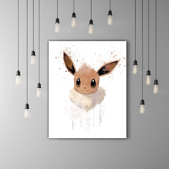 Pokemon Evoli Kawaii Art Impression De La Chambre Denfant Affiche Jeu Pokemon Go Home Decor Mignon Brun Art Mural Poster Anime Aquarelle