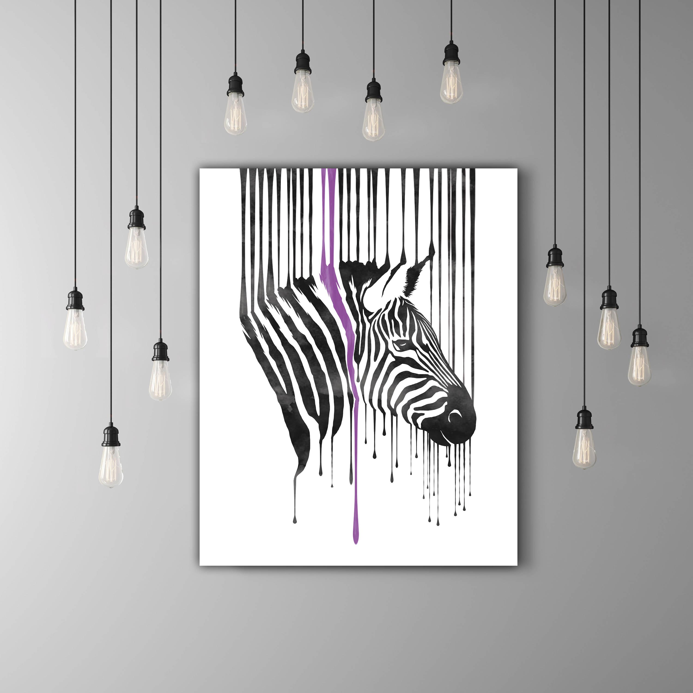 Zebra-Druck schwarz und weiß-Kunst Raum Wand Dekor Tierkopf