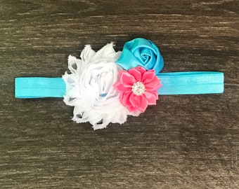 de3ad3e9881a Baby Flower Headband - Flower Headband - Baby Gift - Flower Hair Bow - Pink  Blue White - Pink Baby Headband - Flower hair clip - Girl Bow