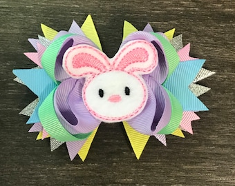 54fe15ec7604 Small Bunny Bow - Bunny hairbow - Easter Hairbow - Pastel bow - Pastel  Hairbow - Spring Hair bow - Soft colors bow - Hair bow - Easter