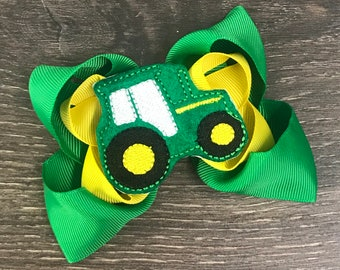 Girls Accessories TRACTOR HAIR BOW Ready to ship pair of 3 Tractor pigtail bows 4 Farm Tractor hair bow birthday miscellaneous bow