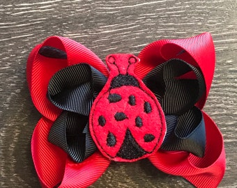 136d85e7ce09 Lady Bug Bow - Ladybug Bows - Ladybug Hairbow - Lady Bug Hairbows - Red and  Black Hair Bow - Summer Hair bow - Red lady bug - Hair Bow