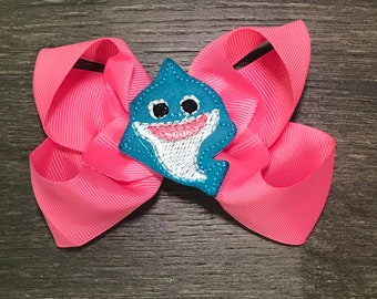 4bf1ed2d24c6 Shark Bow - Shark Hair Bow - Baby Shark Bow - Baby Shark Hair Bow - Beach  Hairbow - Summer Bow - Pink and Blue Hair Bow - Girl Hairbow