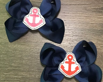 832449293d59 Anchor Bow - Anchor Hair Bow - Anchors Bow - Anchors Hair Bow - Summer  Hairbow - Beach Bow - Hair Bow - Girl Hairbow - Anchor - Red - Pink