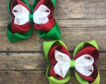 e1297d1aba9e Christmas Hairbow - Christmas Stacked Bow - Red, Green and White Hair Bow -  Big Christmas Bow - Red - Green - White - Hairbow - Christmas