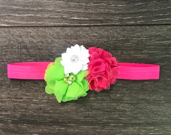 ce0ae6dd0d7c Baby Flower Headband - Flower Headband - Baby Gift - Flower Hair Bow - Pink  Green White - Pink Baby Headband - Flower hair clip - Girl Bow