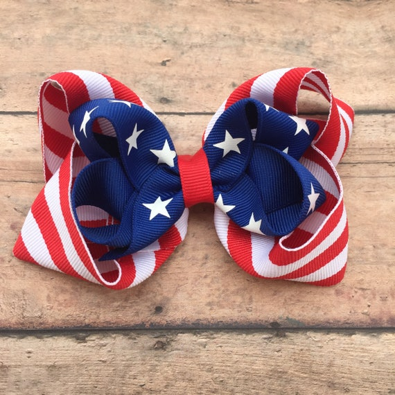 Mommy and me Patriotic Stars and Stripes Hair Bow and Earring Set 4th of July. Red white and blue CLEARANCE