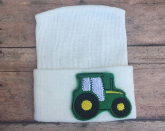 Tractor hospital hat - baby boy hospital hat - newborn beanie - boy hat - hospital hat - tractor - baby hat - baby hospital hat - beanie