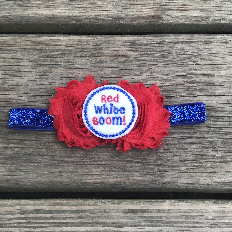 4th of July Shabby Flower Newborn Headband Baby Girl Hair Bow Red White Blue
