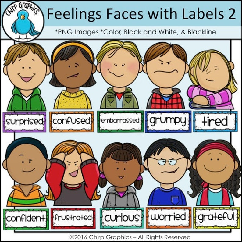 Kids Feelings Faces Clip Art Set 2 Chirp Graphics   Etsy