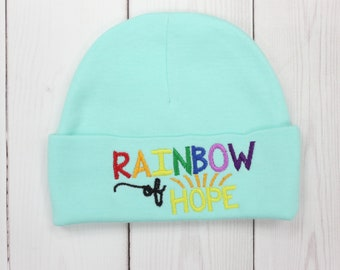 d75e748304b New Baby Unisex Custom Hat - Mint Rainbow of Hope Hat - Infant Hat - Baby  Hat - Monogramed Hat - One Size Baby Hat - Girl s Hat - Boy s Hat