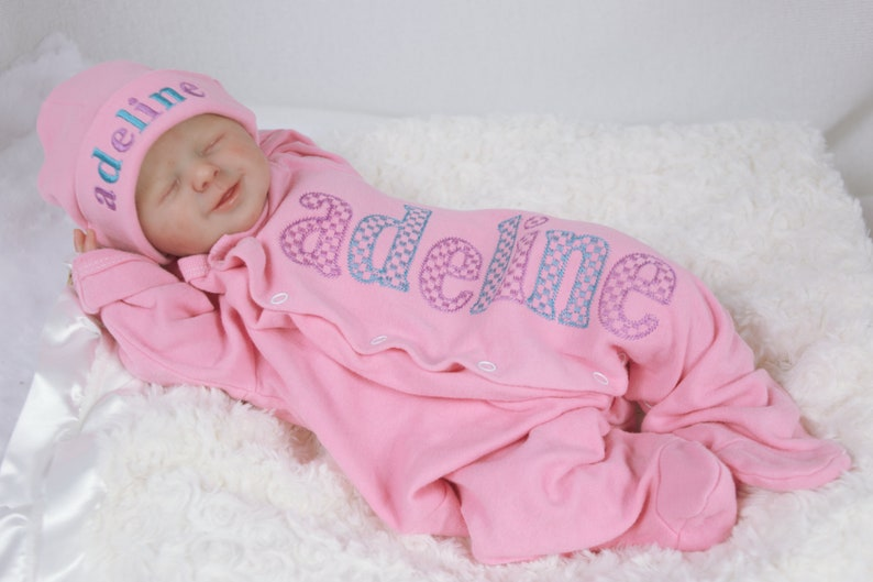 Pink with Purple and Turquoise Name Footie Jammies New Baby Girl Personalized Footed Pajama Coming Home Outfit Custom Infant Sleepwear