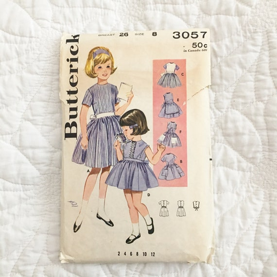 Butterick 3567 Pattern UNCUT 1980s Vintage Little Girl/'s Mini or Maxi Length Dress with Tucks and Peter Pan Collar Size 6x Breast 25.5