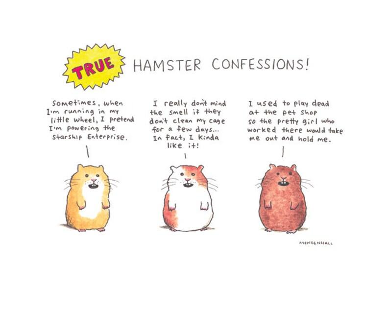 Hamster Art Print Funny Hamster Grappige Print De Gift Van Etsy