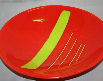 Round glass platter in an abstract pattern (PL-4)