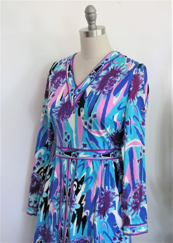 70s Maxi Dress Psychedelic Print / Vintage 1970s B