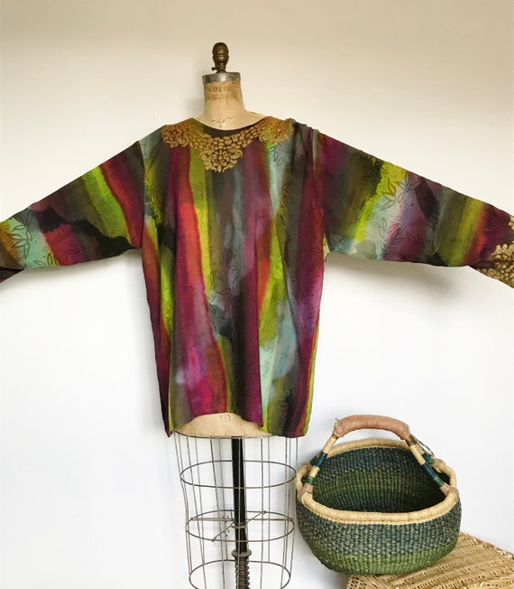 SALE.Hand Dyed Indonesian Tunic Top / Vintage 80's