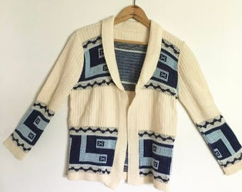bbc56d774c Vintage 70s Aztec Beach Sweater Baby Blue Size small