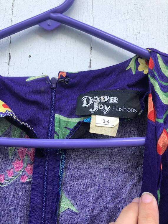 Vintage 90s dawn joy fashion purple floral dress gold belt floral 1990s G