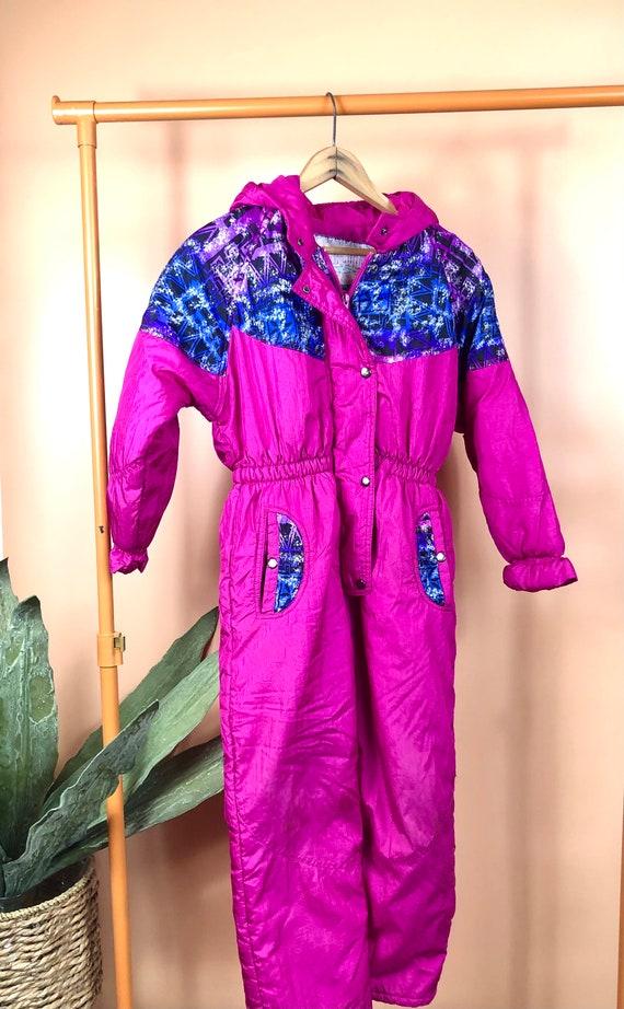 Vintage pink neon 90s 1990s snowsuit snow gear nos