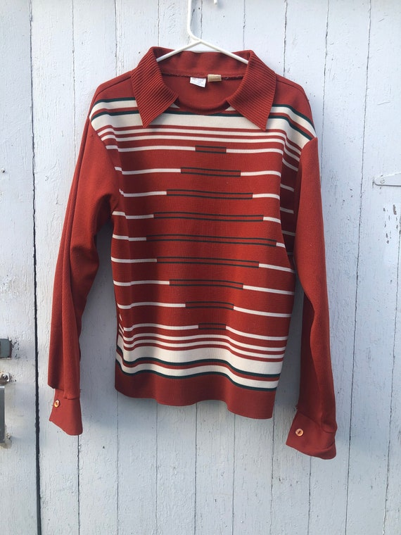 Vintage rust 70s mens pull over collar sweater 197