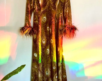 Vintage 60s Cocktail maxi Dress Peacock feather long sleeve  Brown psychedelic Ostrich feather disco