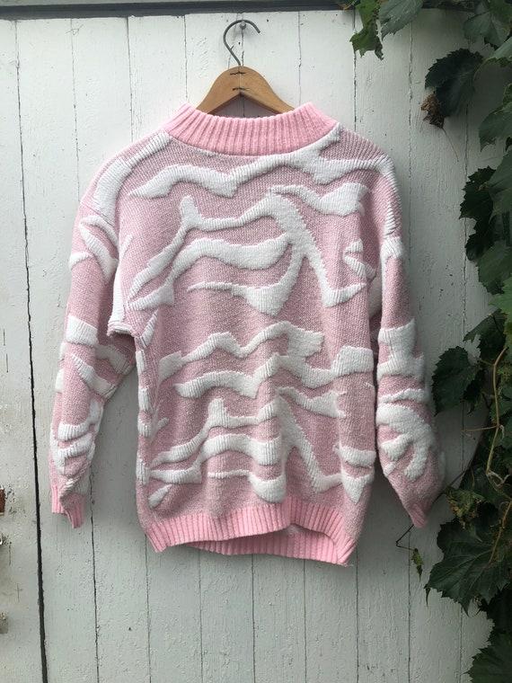 Vintage pink sparkle kawaii chunky sweater 80s 90s