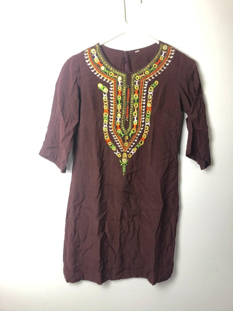 vintage 71960s 1970s 60s  hippie dress brown embroidered ethnic Indian style retro  orange green G