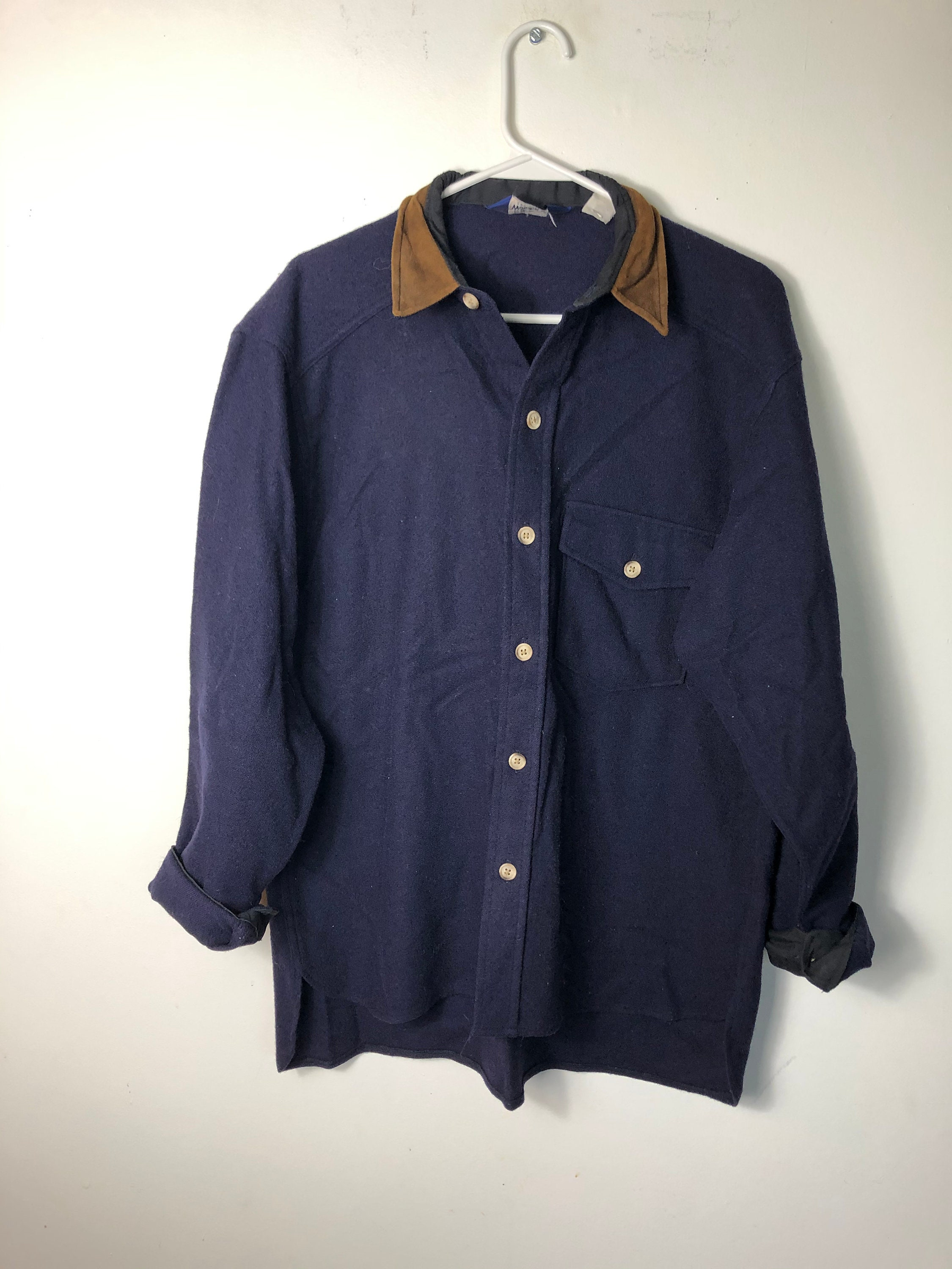1970s Mens Shirt Styles – Vintage 70s Shirts for Guys Vintage Flannel Woolrich Wool Button Down Shirt Elbow Pads Navy Blue 70S 1970S Hippie Cozy Mens Bin13 $0.00 AT vintagedancer.com