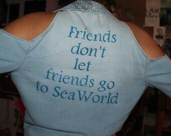 Small/Medium Upcycled Anti-Seaworld Shirt
