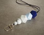 Silicone Beaded Lanyard (Hexagon) - 'Blue Moon'