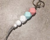 Silicone Beaded Keyring (Hexagon) - ''One in a Melon'