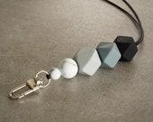 Silicone Beaded Lanyard (Hexagon) - 'Shades of Grey'