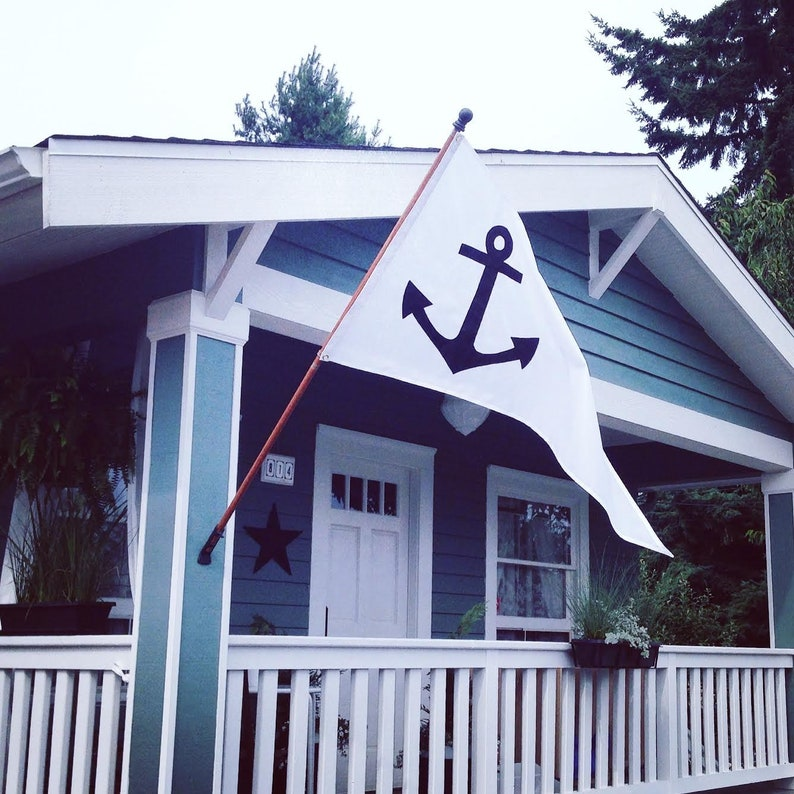 Handmade Nautical Boating or House Flag Various Sizes and Colors Anchor Pennant