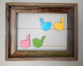 bird wall art, birds on a wire, bird art, spring decor, colorful birds, nursery decor, bird nursery, rustic birds, birds on a string