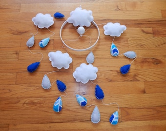 Cloud Baby Mobile, blue mobile, modern nursery, customizable mobile, raindrops, clouds, rain cloud mobile, motorized mobile, spinning mobile