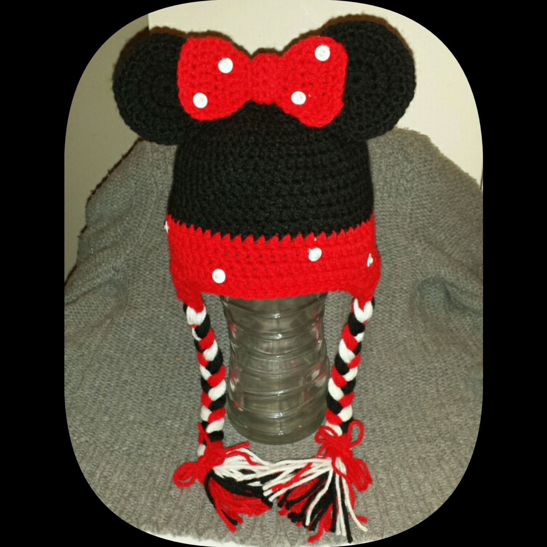 Gorro de Minnie Mouse para nina o bebe hecho a mano en rosa o  8defbcedad2