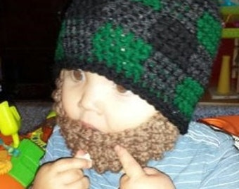 Lumberjack Bearded Beanie with detachable beard - green buffalo plaid for baby and kids- Birthday Party gift, Christmas, fun theme