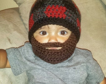Lumberjack Bearded Beanie with FLAT detachable beard - red buffalo plaid for baby and kids- Birthday Party gift, Christmas, fun theme