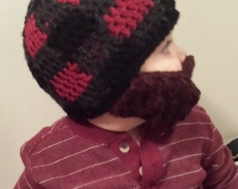 Lumberjack Bearded Beanie with detachable beard - red buffalo plaid for baby and kids- Birthday Party gift, Christmas, fun theme