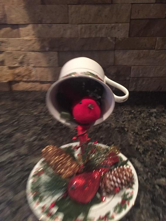 Christmas Floating Tea Cups.Christmas Themed Floating Teacup