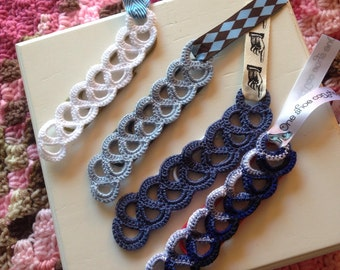 Paperclip Bookmarks with Crochet Design (The Blues) set of 4