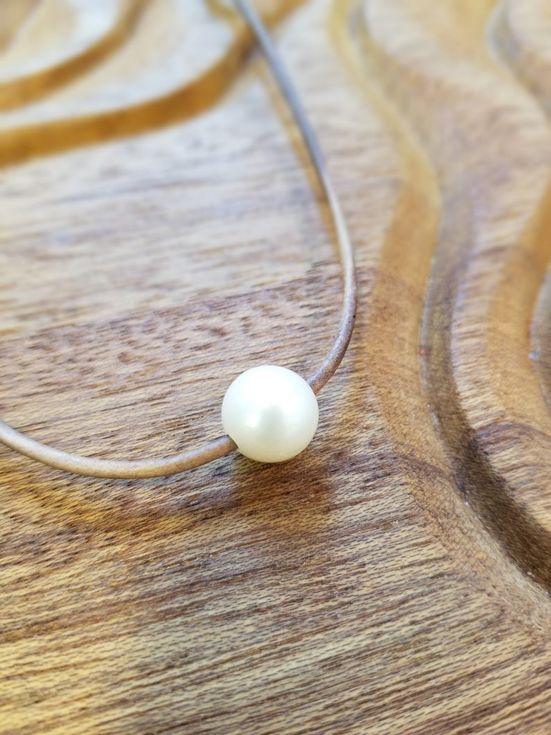 AAA Freshwater Pearl Necklace on Leather Cord