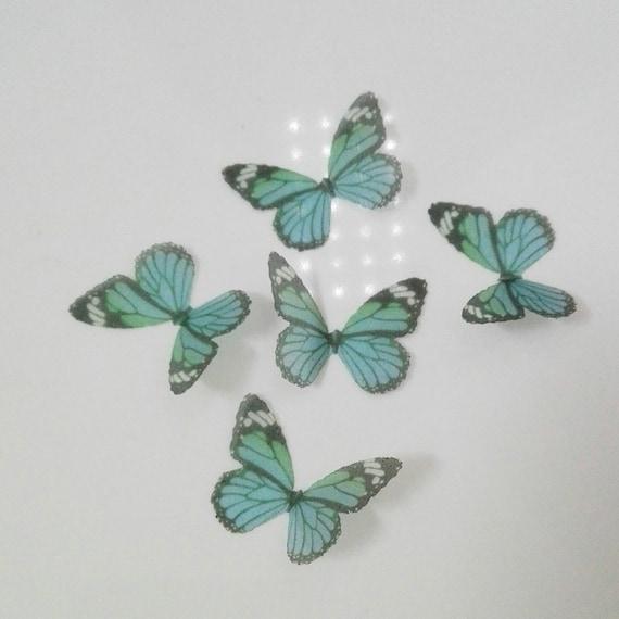 Ailes de papillon de 30 MM de l'Organza fée verte bijoux artisanat, papillon boucles d'oreilles/papillon Necklacce/papillon Costumes artisanat - soie papillon