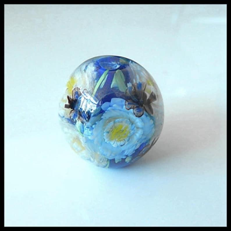 20MM Lampwork Glass Beads  Pair Of Lampwork Flower Murano Floral beads Blue Lampwork Focal Beads