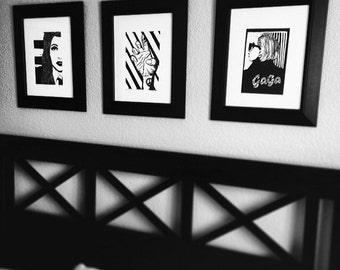 """Lady Gaga Print Trio - 11"""" x 15"""" Each - Black and White Prints"""