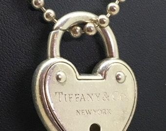ca62acc86 Tiffany & Co 925 Silver Arc Heart Lock Padlock Keyhole Charm/Pendant + Chain