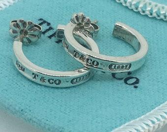 df69c1106 Tiffany & Co 925 Sterling Silver 1837 Hoop Earrings + Tiffany pouch.
